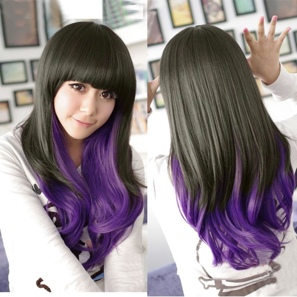 New Fashion Wavy Long Hair Wig Cosplay Party Lolita Black