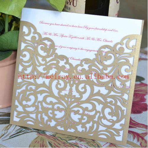 Western style weddings, laser cut invitation cards pocket,wedding invitations champagne,christian wedding cards(China (Mainland))