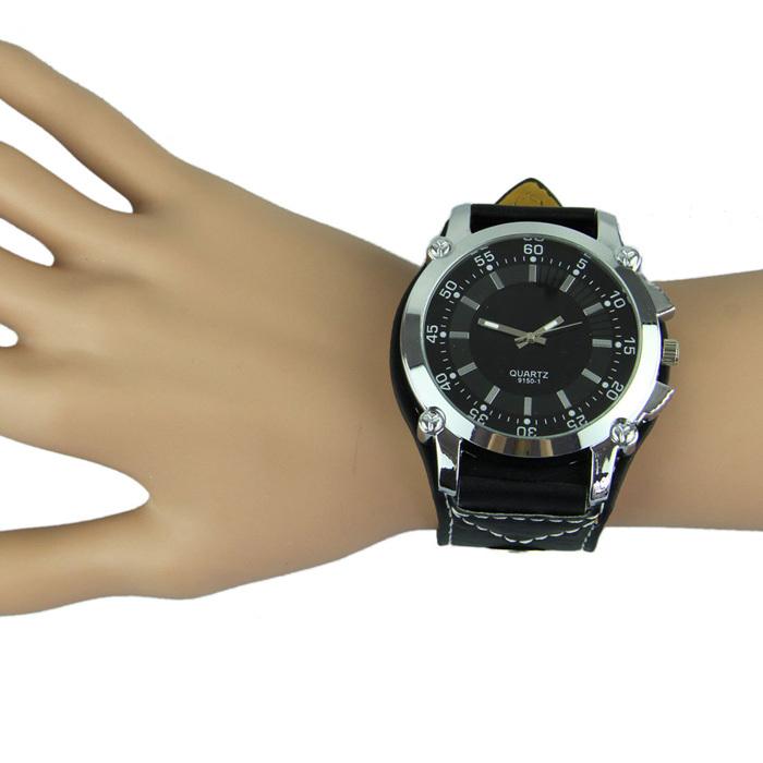 Top Quality Fashion Leatheroid Band Big Dial Black New Mens Quartz Fashion Sport Wrist Watch Women