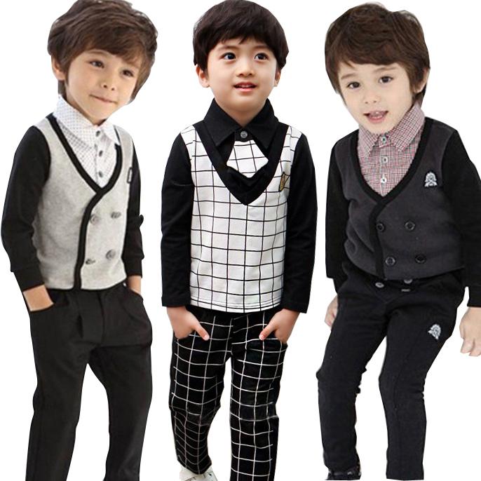 KNB Hot product gentleman boy's plaid clothing set baby boys formal clothing set & boy's clothes suit boy set garment ACS14060(China (Mainland))