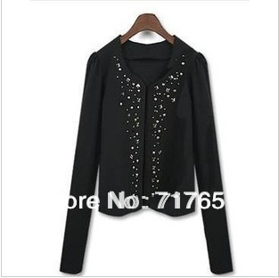 2013 autumn women's new arrival rivet decoration slim long-sleeve spring and autumn small short jacket