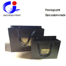 Wholesale good quality black luxury glossy paper shopping bags for clothes shoes packing custom free gold logo print factory(China (Mainland))