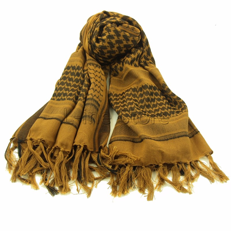 Outdoor Hiking Military Tactical Keffiyeh Shemagh Arab Scarf Shawl Neck Cover Head Wrap Coyote 100% Cotton Winter Scarves