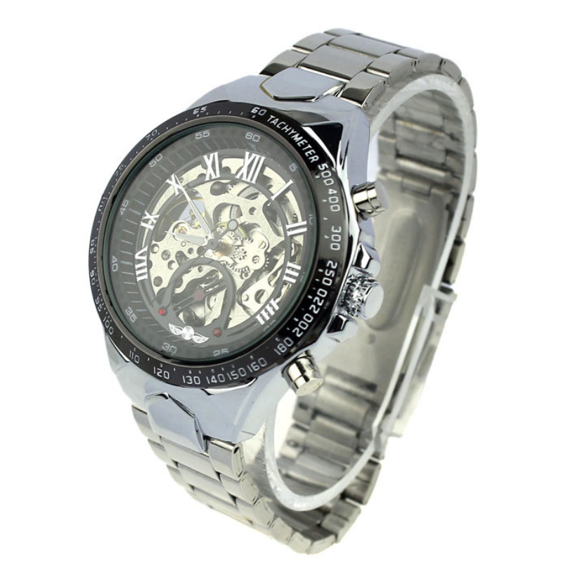 Top Brand Mens Full Steel Hand Wind Watch Classic wristwatches Steampunk Skeleton Mechanical Men Fashion Stainless