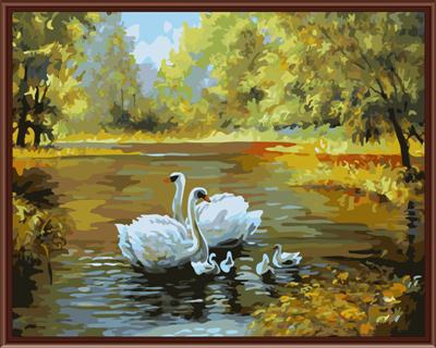 40x50cm Framed picture paint on canvas diy digital oil painting by numbers home decoration craft gifts Swans Love G312(China (Mainland))