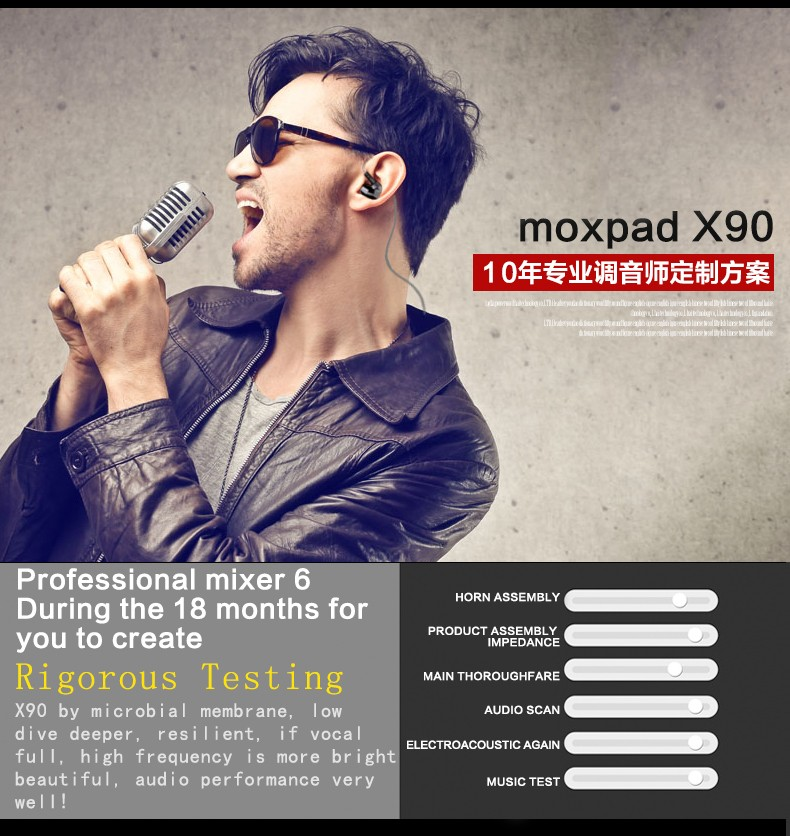 Original New Moxpad X90 Bluetooth 4.1 Stereo Headset  In-Ear Sport Running Wireless Earphone Studio Music with Mic