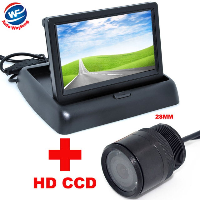 "28mm Car CCD Rear View Camera+4.3"" Color LCD Car Video Foldable Monitor 2 in 1 Night Vision backup Camera Auto Parking(China (Mainland))"