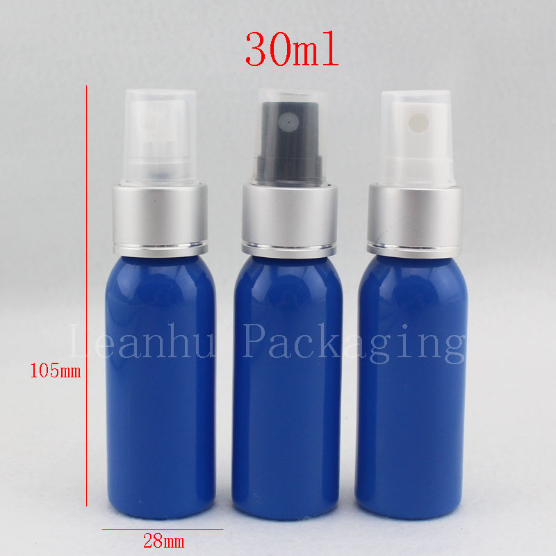 30ml silver spray pump plastic containers bottle , true blue beautiful colored perfume cosmetic bottle with aluminum spray(China (Mainland))
