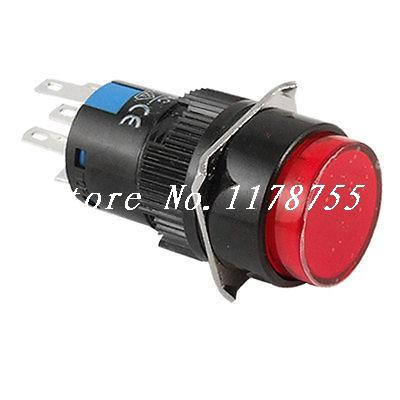 Illuminated 5 Pins AC 220V Red LED Push Button Switch(China (Mainland))