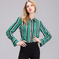 Plus Size S 2XL 2017 Hot Sale OL Women Blouse Shirt Spring Fashion V Neck Green