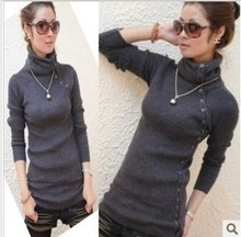 New 2015 Women's Winter Autumn Sweaters Turtlenecks With Buttons Rabbits Hair Printed Knitted Jumpers Thick Warm Soft Sweater(China (Mainland))