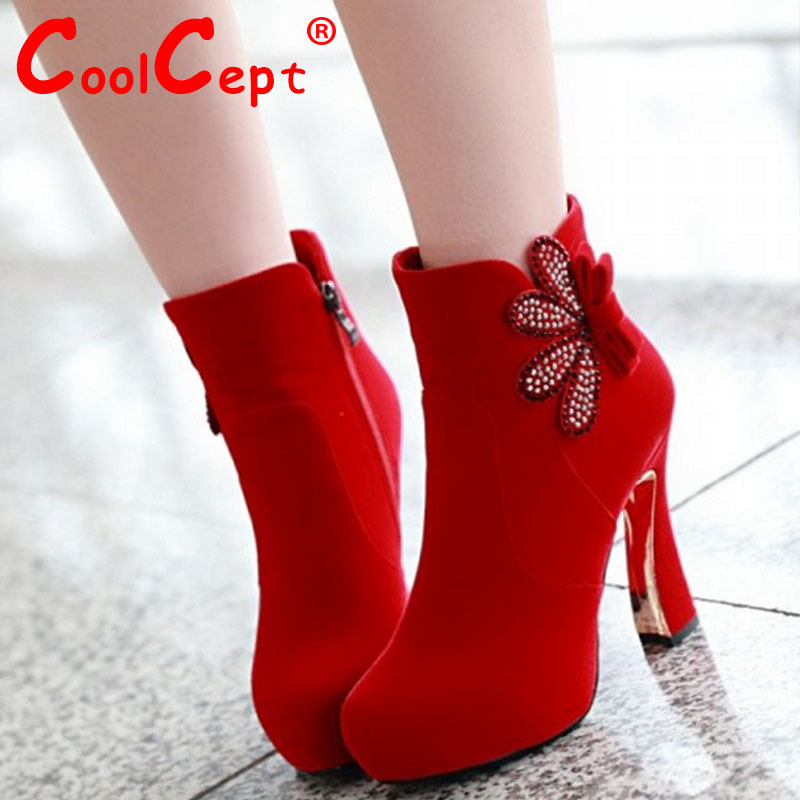 CooLcept Free shipping ankle half short boots women snow fashion winter warm boot footwear high heel shoes P15448 EUR size 34-39<br><br>Aliexpress