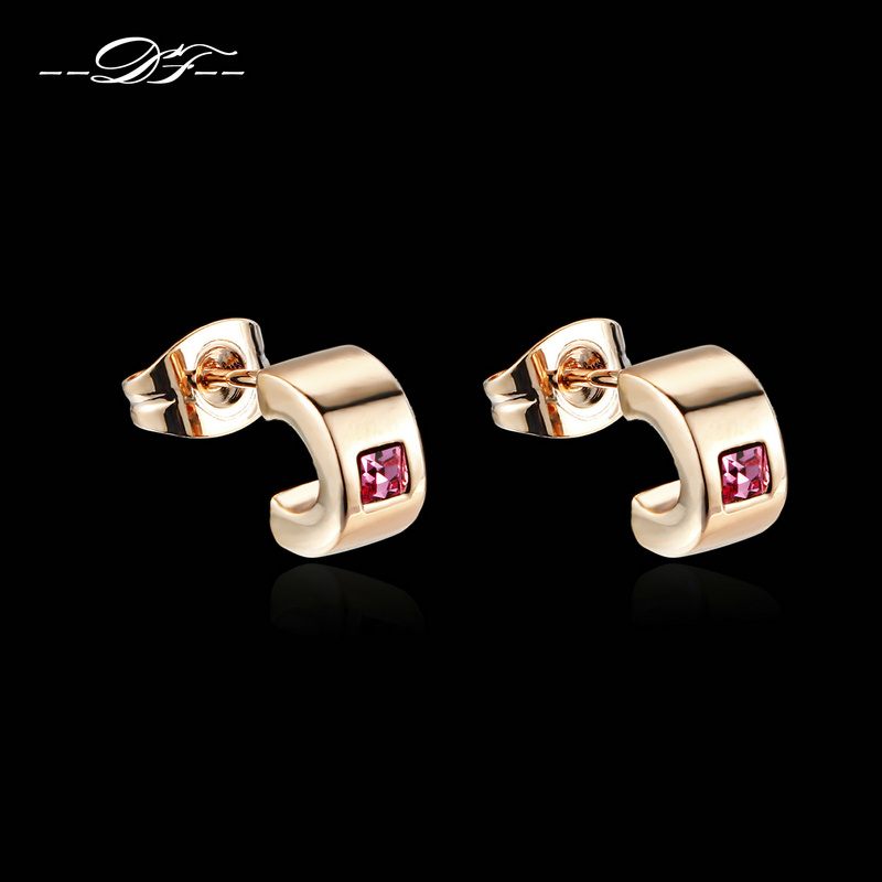 DFE198 Square Red Stone Stud Earrings Wholesale Rose Gold Color Fashion Austrian Crystal Fashion Jewelry For Women brincos(China (Mainland))