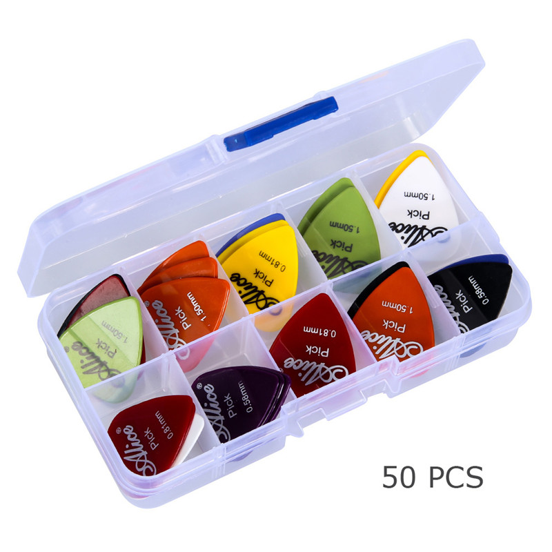 50pcs guitar picks 1 box case Alice acoustic electric guitar accessories musical instrument thickness mix 0.58-1.5 New Design(China (Mainland))