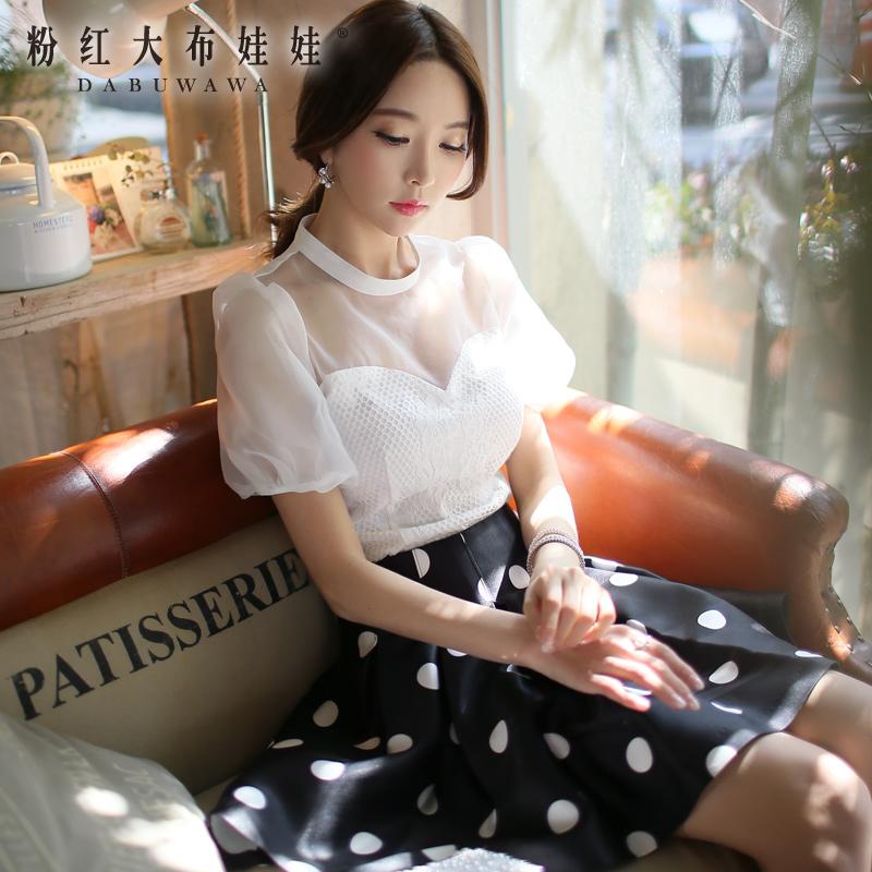 The white shirt Pink Doll 2015 new dress Eugen slim lace short sleeved shirt shirt female yarn