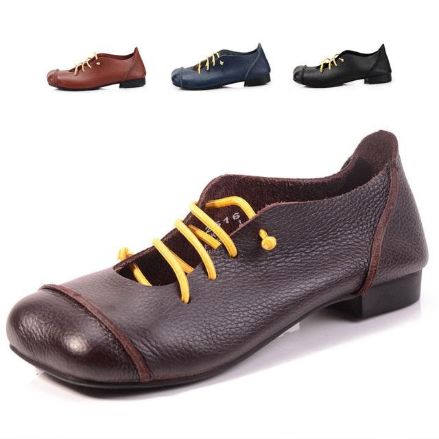 Женская обувь плоским натуральная кожа квадратных ног резинка дамы на плоской подошве ...