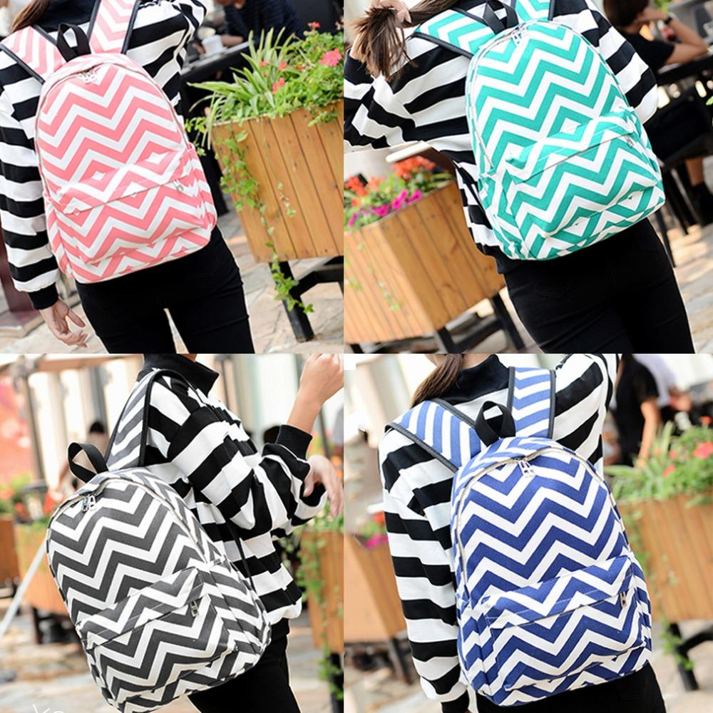 Wavy Stripes Backpack Shoulder Women Bag Canvass Leisure Travel Wave Fashion New Arrival(China (Mainland))