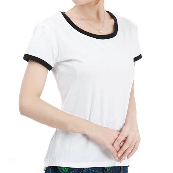 Lady Cotton Short Sleeve O-neck Plain Casual Basic Tee Shirt Fashion Blank Woman T-shirt WT-14005(China (Mainland))