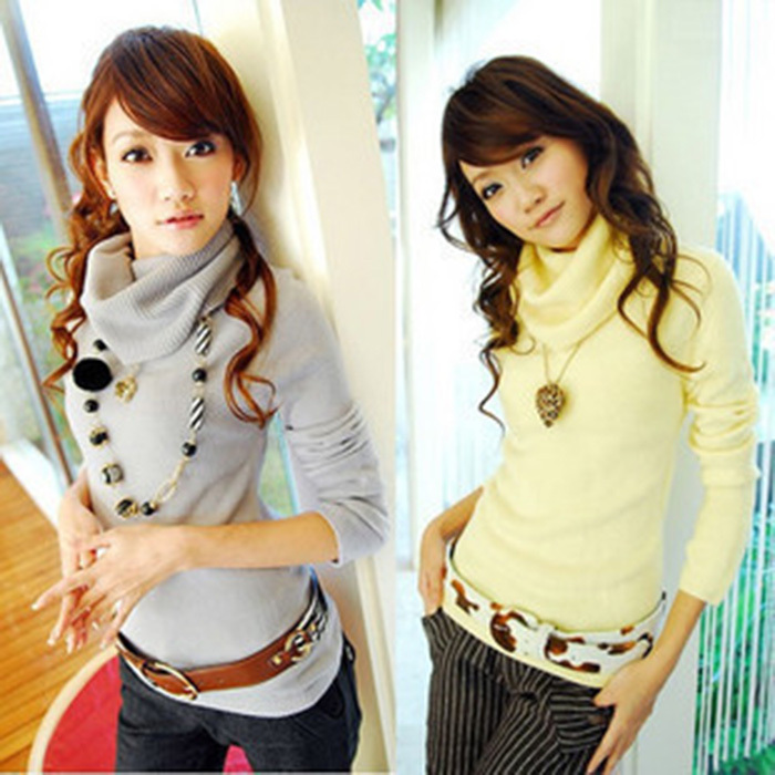 2013 new all-match lady larger lapel pile collar Sweater big turtleneck knitted Pullover ladies' Knitwear girl's tops LST039(China (Mainland))