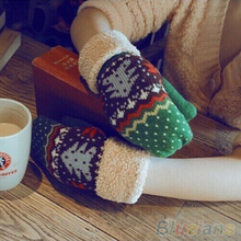 Women Chrismas Tree Pattern Double Layer Knit Halter Mittens Warm Winter Gloves  1Q1G 2V5L(China (Mainland))