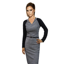 2015 New Posh Victoria Beckham Look Celebrity Belted Tartan Patchwork Women Houndstooth Stitching Dress