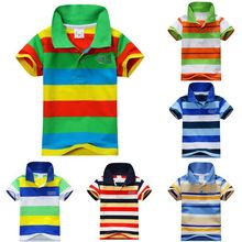 New Summer 1-7Y Baby Children Boys Striped T-shirts Kids Tops Sports Tee Polo Shirts Clothing Freeshipping