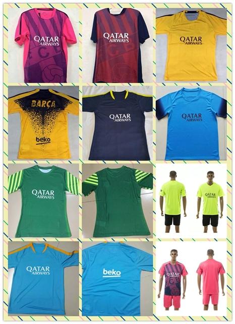 Top Sell 2015-2016 Pedro soccer Football Jersey Suarez Messi Neymar Red Yellow Blue Thai Training shirt Full shirt(China (Mainland))