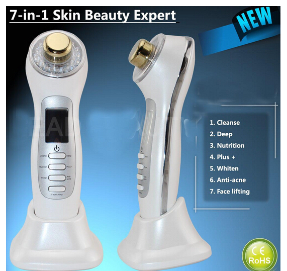 Free shipping Home use 7 in 1 Electric ultrasonic 3 colors led light therapy photon facial massager for women(China (Mainland))