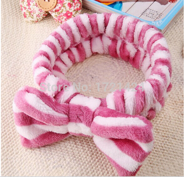 New Big Hair Bow Headbands Wash Face Makeup Hair Band and Beauty Coral Velvet Hairbands Elastic Scrunchiely hair accessories(China (Mainland))