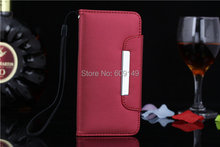 50pcs/lot Free shipping 6colours Luxury Scrub Hand Strap with card holder Mobile Phone parts for iphone 6 6G 4.7″ wallet PU case