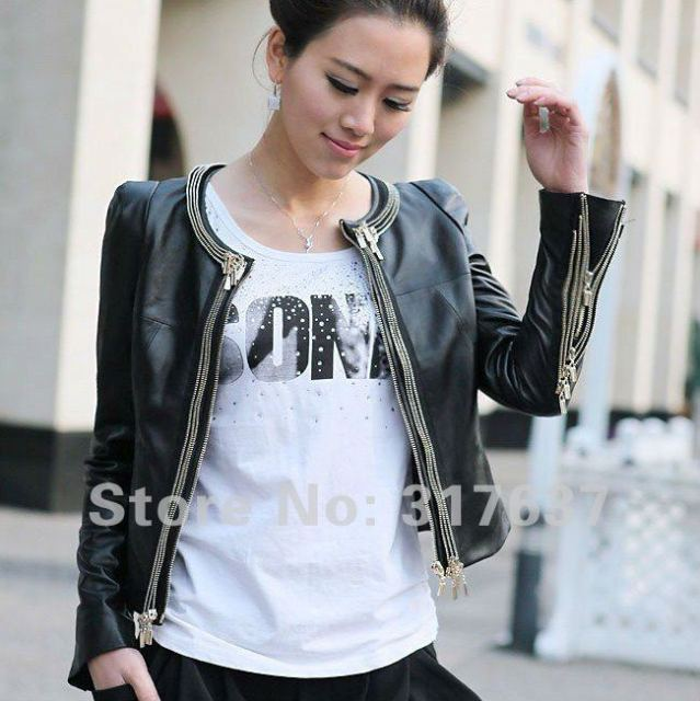 Free Shipping Via EMS Women's Motorbike Style Genuine Lambskin Leather Jacket #11111