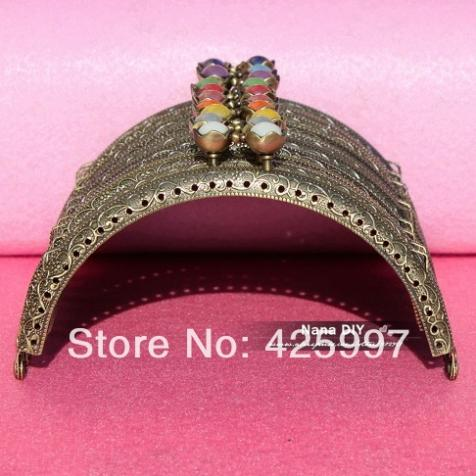 20pcs/lot DIY 12.5cm Colorful Lotus Head Bronze Color Metal Purse Frame Handle for Bag Sewing Craft Tailor , Free shipping!(China (Mainland))