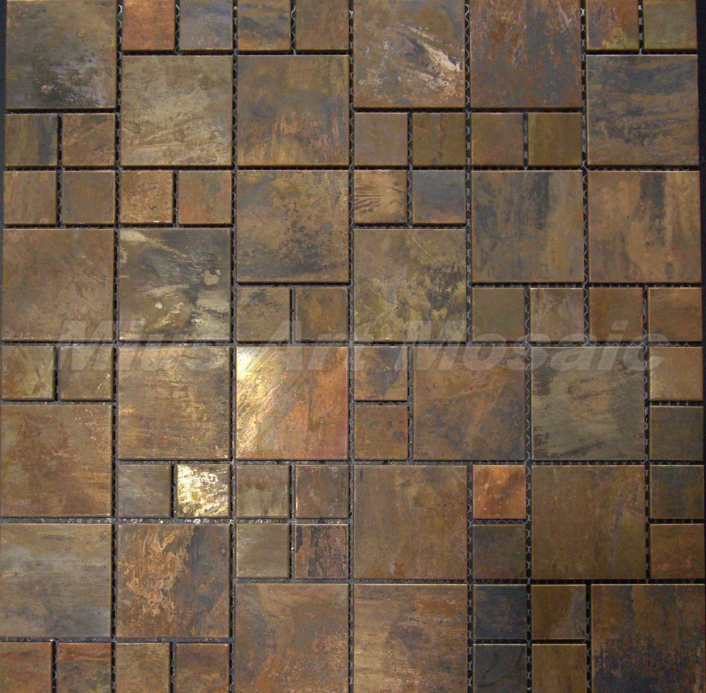 Copper mosaic tile with antique bronze finish for ...