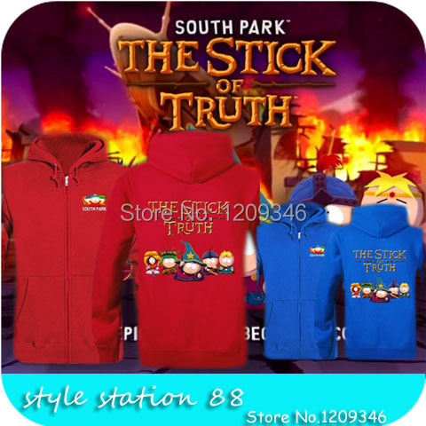High Quality 2014 brand game South Park: The Stick of Truth printed sweatshirt boy london hoodie men tracksuits plus size jacket(China (Mainland))
