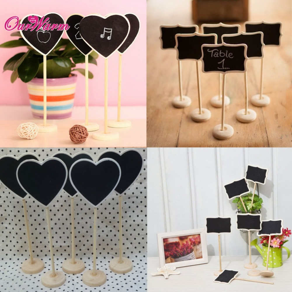 6Pcs/lot Vintage Mini Wood Chalkboard Blackboard Wooden Place Card Holder Table Number for Wedding Event Party Decoration(China (Mainland))