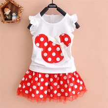 2016 new t shirt +Skirt baby kids suits 2 pcs fashion girls clothing sets minnie children clothes bow tops suit Dresses 2-7T(China (Mainland))