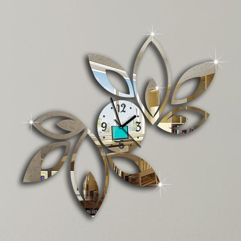 2015 new clock on wall home decor multicolor leaveacrylic Unique clocks for sale