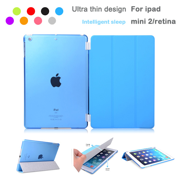 1 Pair/lot Leather Magnetic Smart Cover Cases + Crystal Hard Back PC Case For Apple iPad Mini /iPad Mini 2 With Retina Display(China (Mainland))