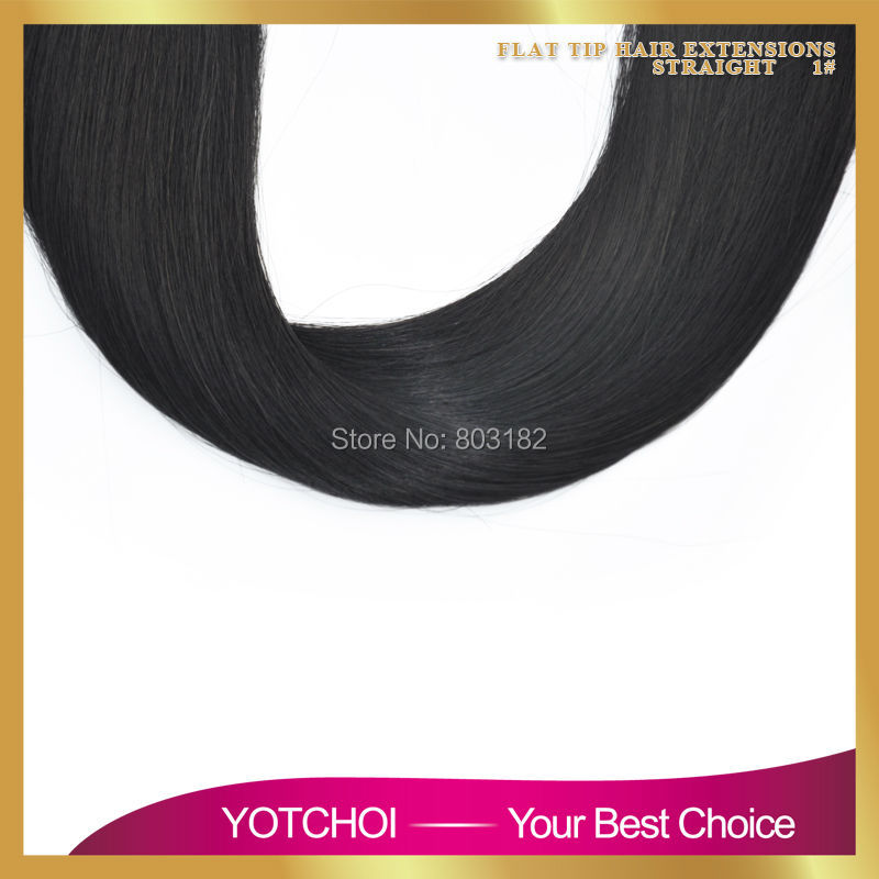 Yotchoi 7A Pre Bonded Flat Tip Hair Extensions 1 Gram Strand Keratin Remy Human Hair Brazilian Straight Hair Jet black colour 1#
