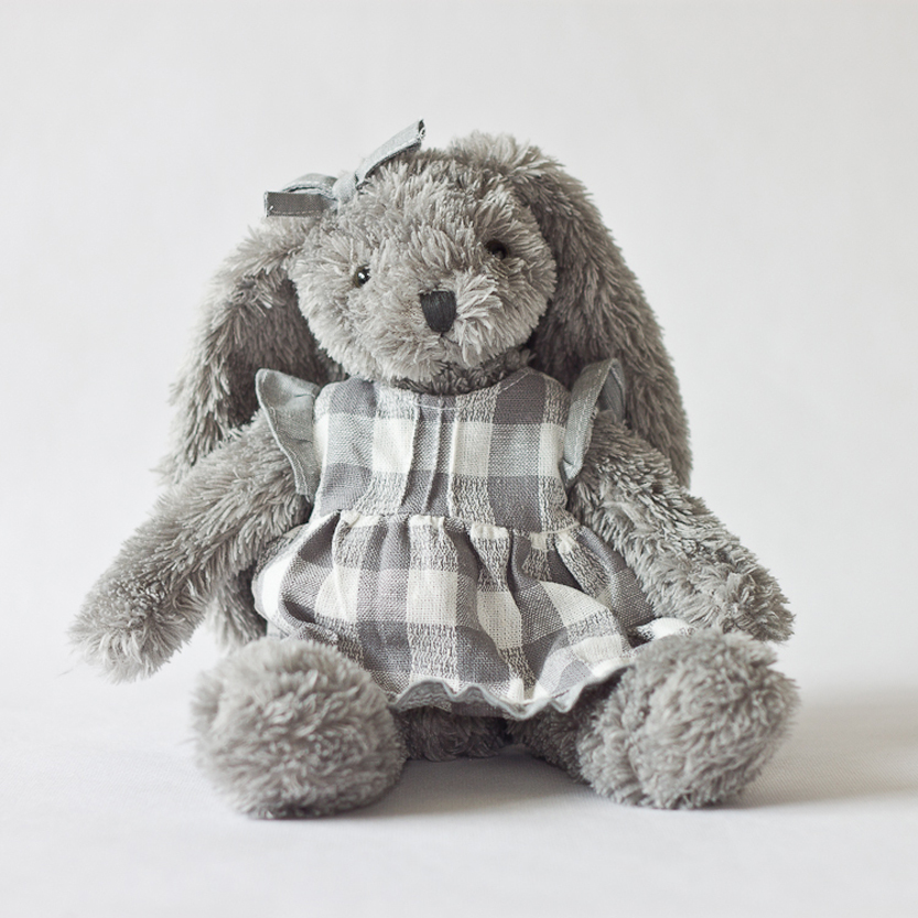 Baby`Birthday Gifts Grey Rabbit With Night Skirt Kids Plush Stuffed Toys Kids Bed Comforting Animals Toys Valentines Gifts 1pcs(China (Mainland))