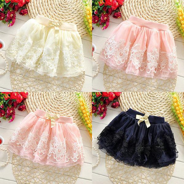 Best&SM13 Kid Girls Crochet Lace Flower Tutu Skirt Bowknot Belt Pompon Baby Tulle Skirts(China (Mainland))
