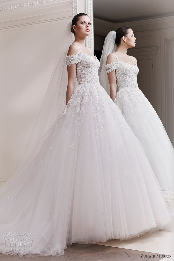 Sexy off shoulder ball gown chapel train appliqued zuhair for Zuhair murad wedding dresses prices