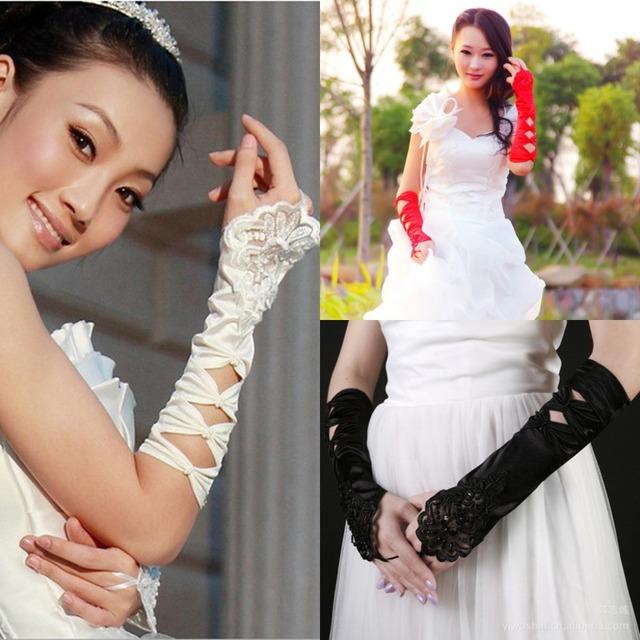 Новинка бисером дешевые свадебные перчатки сказочный черный белый красный цветок ...