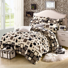 4Pcs Plaid Designer bedding Brand Thicker Winter Fleece Bedding sets King Queen Size Comforter cover set Bed sheet Pillowcases(China (Mainland))