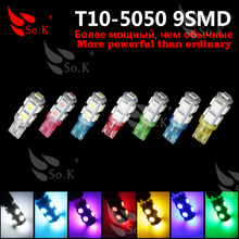 Buy 2X T10 9SMD DC 12V 1W 5050 9 SMD 192 168 194 W5W white/blue/red/green/yellow/pink Xenon LED Side Light Wedge Bulb Lamp Car for $1.43 in AliExpress store