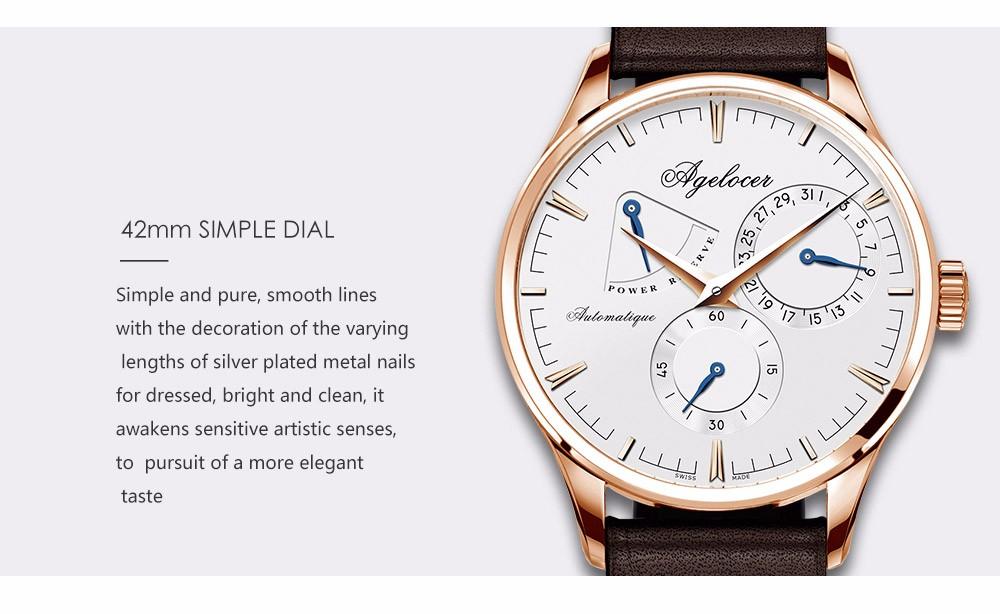 Швейцарский Agelocer бренд фитнес часы оригинального дизайна механические наручные часы Мужской Часы Повседневная Мода часы запас хода 42 часов