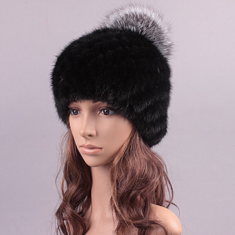 2016 Real Mink Fur Hat and Beanie Cap with Fox Fur Ball Knitted Fur Skullies with Silver Fox Ball Hot Sale(China (Mainland))