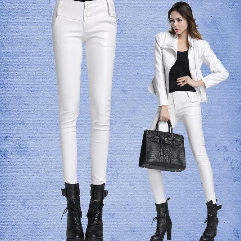 Lastest Fashion White Faux Leather Leggings Pants 5038in Leggings From Women