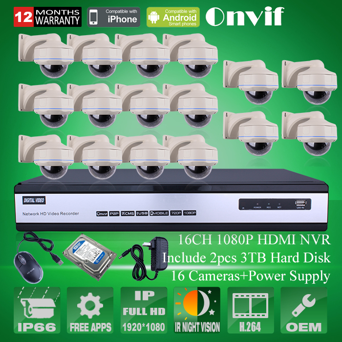 6TB HDD 16CH H.264 NVR Video Recorder Kit Onvif 1080P 2MP HD Outdoor IR Vandal-proof Dome Security CCTV Network IP Camera System<br><br>Aliexpress