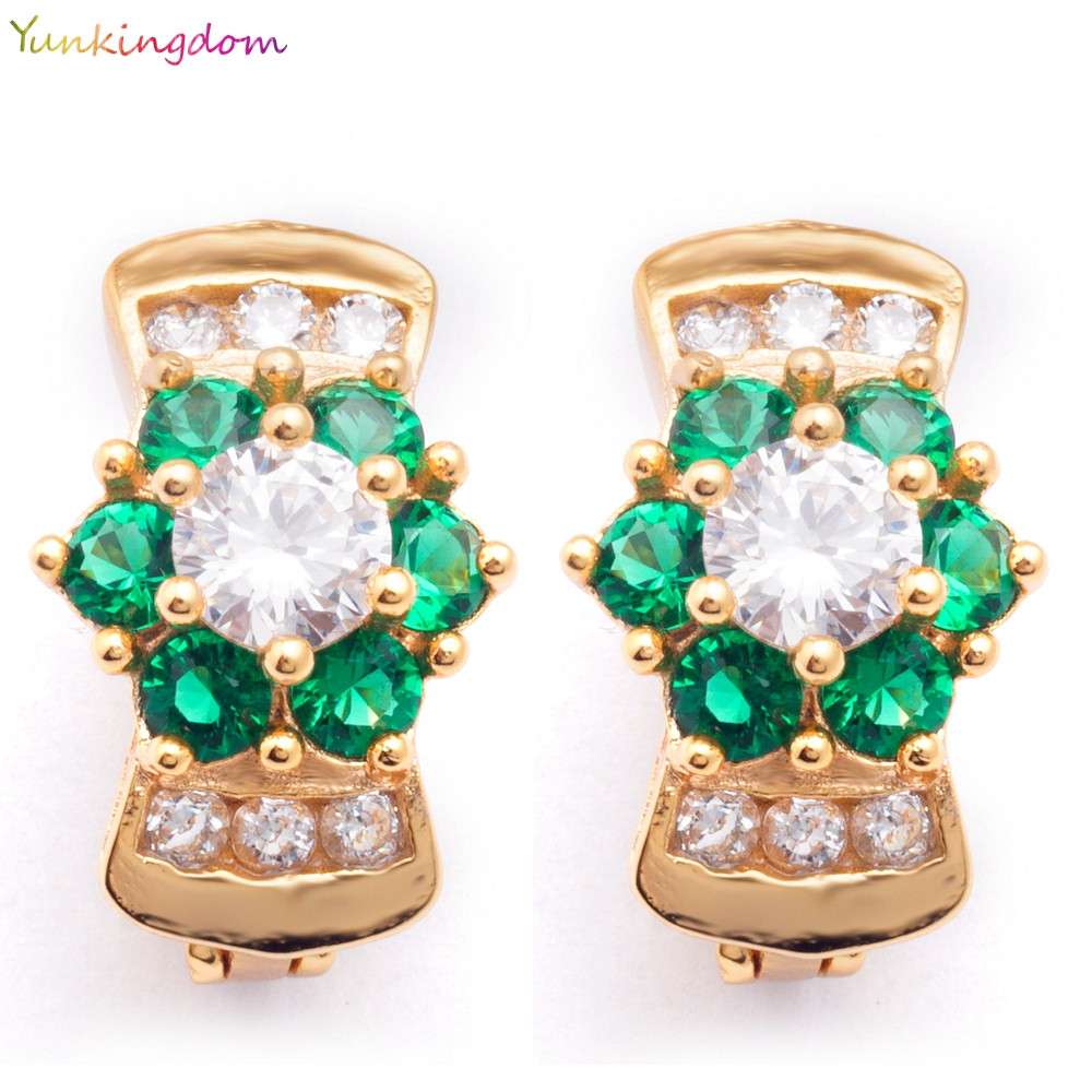 Yunkingdom flower Jewelry 18k Yellow Gold Plated Cut emerald green CZ Small Hoop Earrings For women K1468(China (Mainland))
